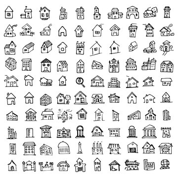 Hand drawn building and real estate on bold and thin line icons concept doodles set. Sketch style icons. Home isolated on white background. Flat design. Vector illustration