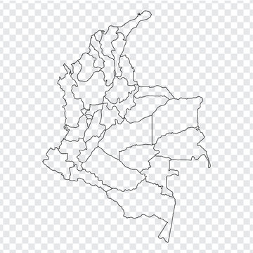 Blank map Colombia. High quality map Colombia with provinces on transparent background for your web site design, logo, app, UI. Stock vector. Vector illustration EPS10.