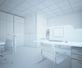 Editable office interior. 3d rendering
