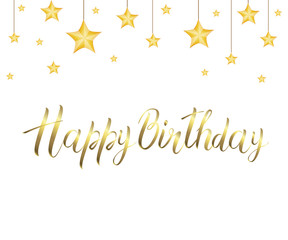 Golden inscription HAPPY BIRTHDAY and the stars isolated on transparent background. Festive decor element for Birthday party or greeting card design element. Vector illustration.