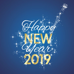 2019 Happy New Year wish firework champagne gold blue background vector greeting card banner