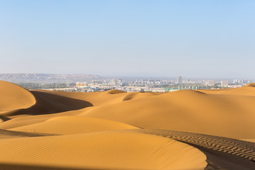 desert and city
