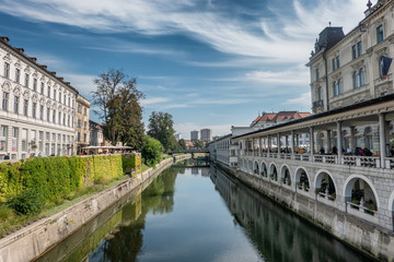 Ljubljana city center with canals and waterfront in Slovenia