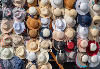Hats on Ljubljana central market in Slovenia