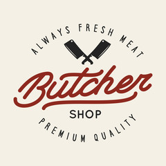 Butcher shop labels badges emblem. Butchery store advertising design elements collection. Meat shop typography.