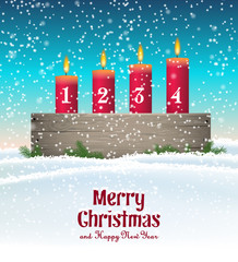 Advent candle holder with four red candles