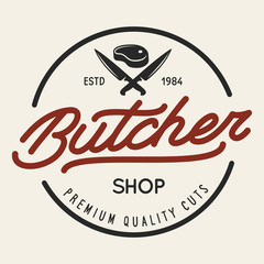 Butcher shop labels badges emblem. Butchery store advertising design elements collection. Meat shop typography.