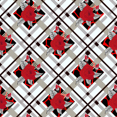 beautiful flowers pattern on plaid background. pattern of rose, eps10