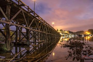 Mon Bridge, longest Wood bridge in Thailand, at Dawn in Sangkhla Buri, Thailand