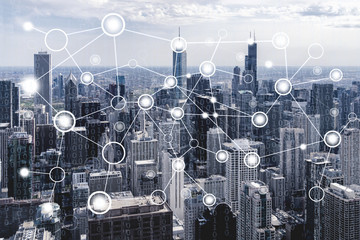Wall Mural - Network connection concept with chicago cityscape background