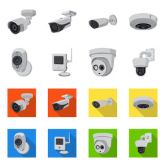 Vector design of cctv and camera symbol. Set of cctv and system stock symbol for web.