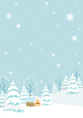 Self adhesive Wall Murals Light blue Winter landscape with rabbit.