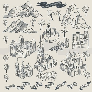 Medieval middle age map elements engraving and woodcut style vector cartography black and white, monochrome illustration