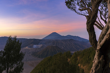 Majestic view of mountains at Bromo Tengger Semeru National Park during sunrise.It is located in East Java, Indonesia,to the east of Malang and to the southeast of Surabaya,the capital of East Java.