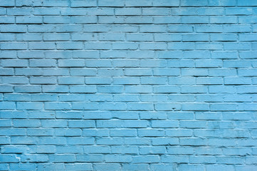 Light blue brick wall background.