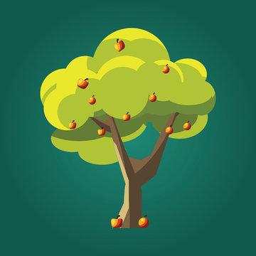 apple trees vector illustration