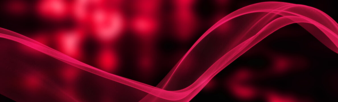Red bright blurred light. Smooth line. Invitation and greeting cards. Abstract festive panoramic illustration. Copy space