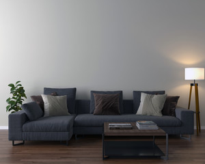 Living room interior - empty wall background