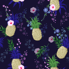 Beautiful and trendy Summer seamless vector floral print pattern in trendy colorful style, exotic tropical plants and palm leaves fruit pineapple