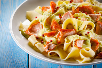 Pasta with salmon and sauce
