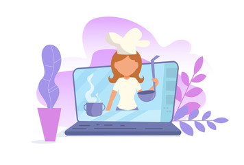 Concept of online video blog. Training Vlogger Cooking Vector. Cartoon. Isolated art on white background.