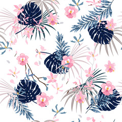 Trendy bright summer sweet Tropical with flowers palm leaves,Exotic  leaf seamless vector floral pattern