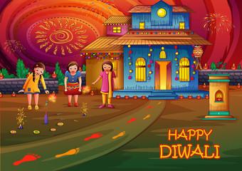 Indian kids celebrating Happy Diwali on colorful art style background of India