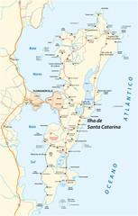 Detailed street map of Brazilian island Santa Catarina, Santa Catarina, Brazil