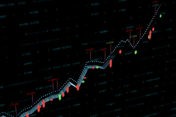 3d rendering, Stock chart with black background