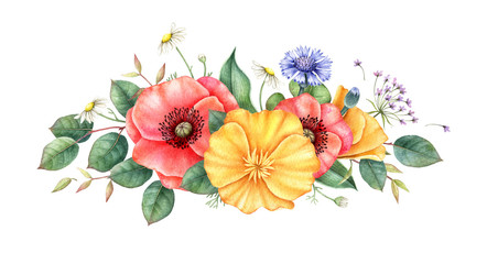 Wildflowers. Bouquet of red and yellow poppy, cornflowers, chamomile and herbs isolated on wwhite background. Watercolor hand drawn illustration. Floral design element.