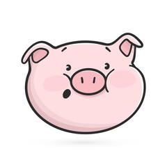 Surprised emoticon icon. Emoji pig is surprised.
