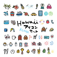 ハワイ アイコン セット イラスト