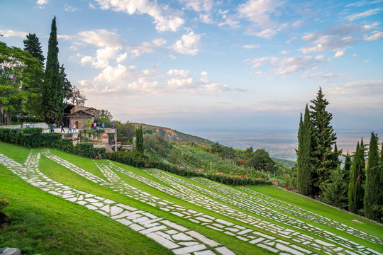 Green terraces in the Bodbe monastery. Sighnaghi, Georgia