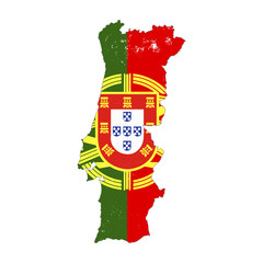 Portugal country silhouette with flag on background, isolated on white