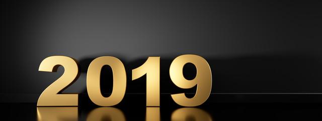 2019 in Gold vor dunkler Wand