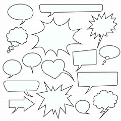 Speech bubble set, pop art style, vector