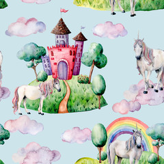 Watercolor fairy tale pattern witn unicorn, cloud and castle. Hand painted green trees and bushes, castle, rainbow isolated on pastel blue background. Illustration for design, print.
