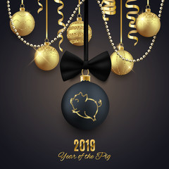 Pig glitter logo on Christmas decorative ball, New year 2019 chinese horoscope symbol, vector illustration