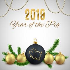 Pig glitter logo on Christmas decorative ball, New year 2019 chinese horoscope symbol, vector illustration
