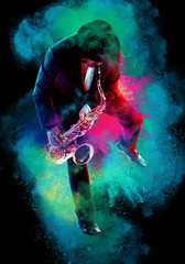 Saxophonist.  Man playing on saxophone