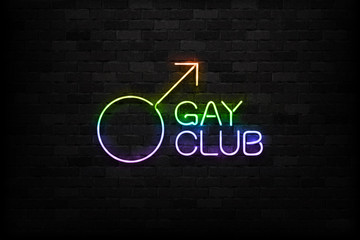 Vector realistic isolated neon sign of Gay Club logo for decoration and covering on the wall background.
