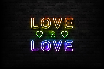 Vector realistic isolated neon sign of Love is Love logo for decoration and covering on the wall background. Concept of Pride.