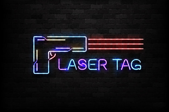 Vector realistic isolated neon sign of Laset Tag logo for decoration and covering on the wall background.