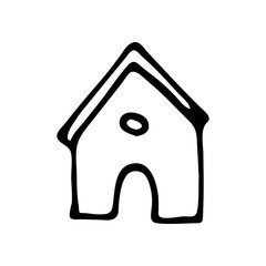 Hand Drawn home icon doodle. Sketch style icon. Decoration element. Isolated on white background. Flat design. Vector illustration
