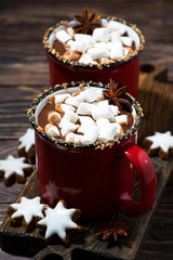 cozy winter drink hot chocolate with marshmallows, vertical top view