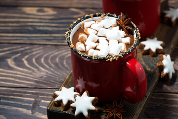 cozy winter drink hot chocolate with marshmallows