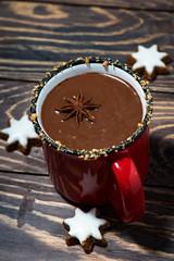 winter drink hot chocolate, vertical