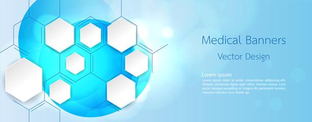 Banner Medical dna and technology background. vector background design.