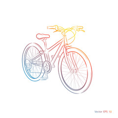 Colorful Sports Bike.Bicycle on a white background ,vector
