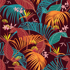 Bright and colorful vector seamless beautiful artistic tropical pattern with exotic forest. Colorful original stylish floral background print.